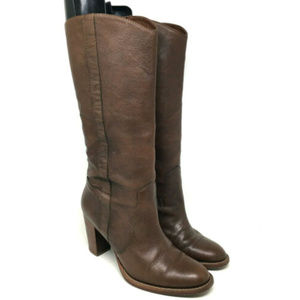 Michael Kors Brown Leather Knee Riding Boots Heels